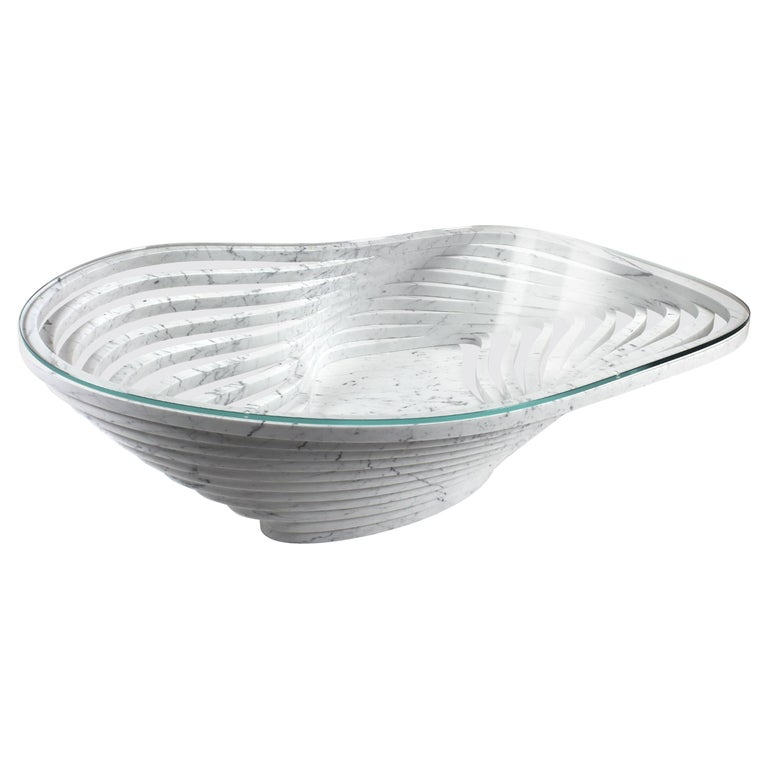 Coffee Table Round Circular White Marble Glass Crystal Contemporary Design For Sale