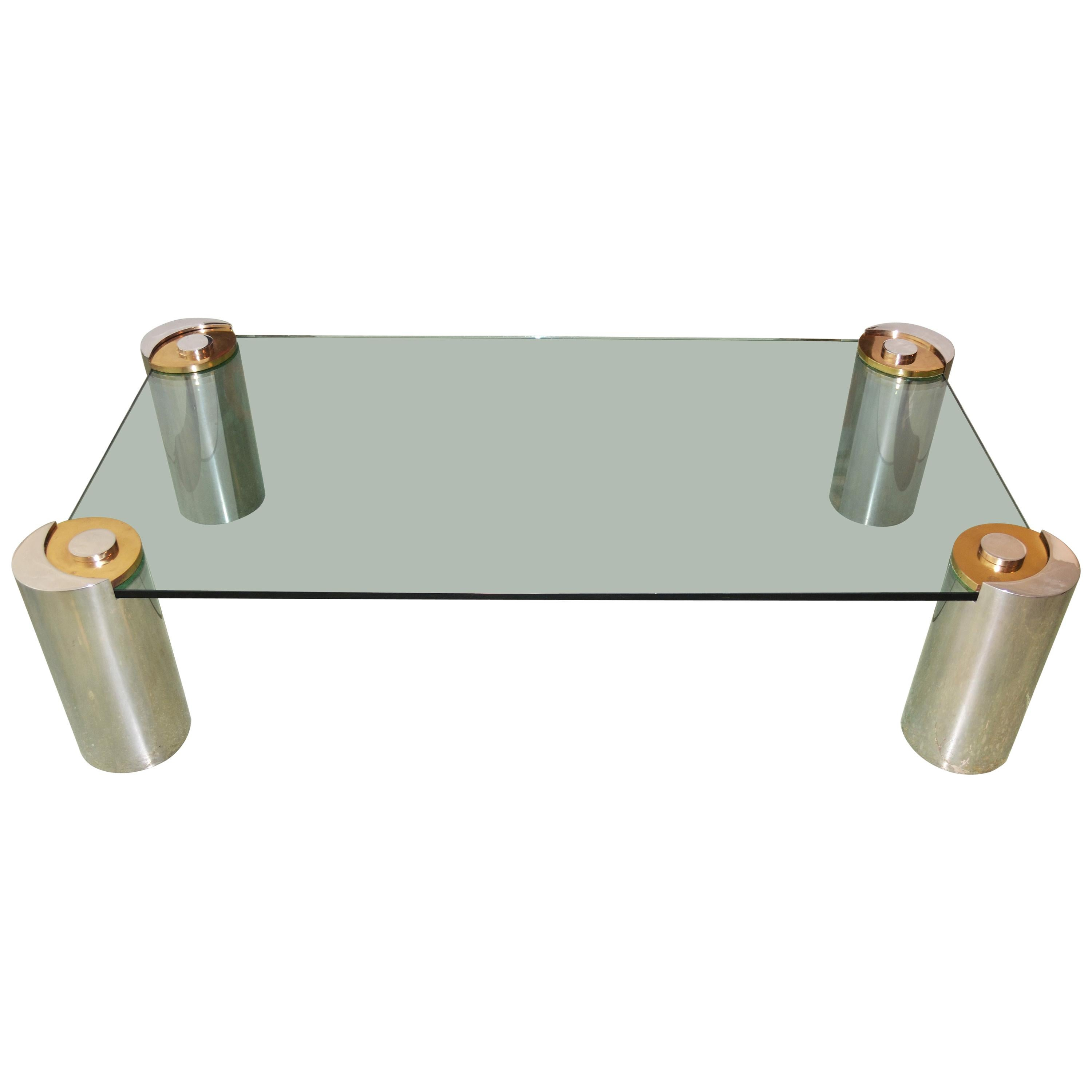 Coffee Table Sculpture Leg by Karl Springer in Chrome & Brass