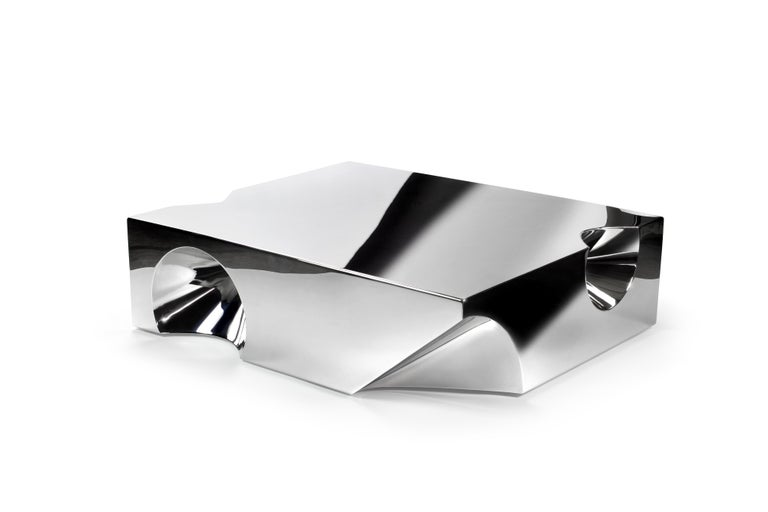 Modern Coffee Table Sculpture Steel Italian Limited Edition Contemporary Design For Sale