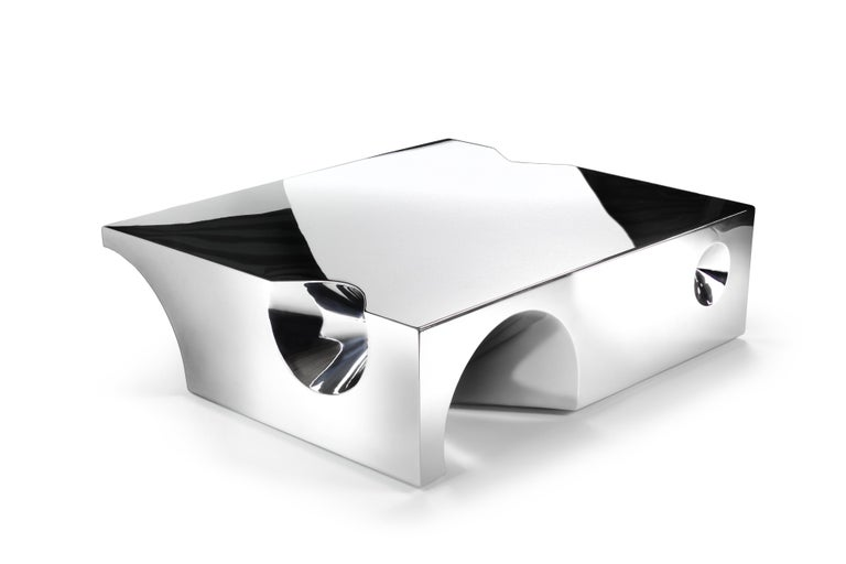 Polished Coffee Table Sculpture Steel Italian Limited Edition Contemporary Design For Sale