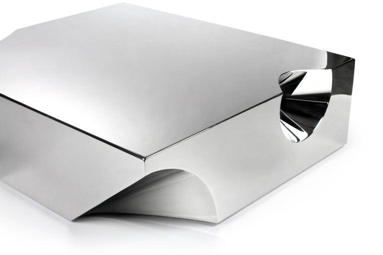 Coffee Table Sculpture Steel Italian Limited Edition Contemporary Design In New Condition For Sale In Ancona, Marche