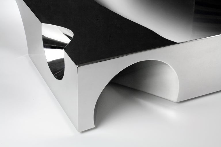 Stainless Steel Coffee Table Sculpture Steel Italian Limited Edition Contemporary Design For Sale