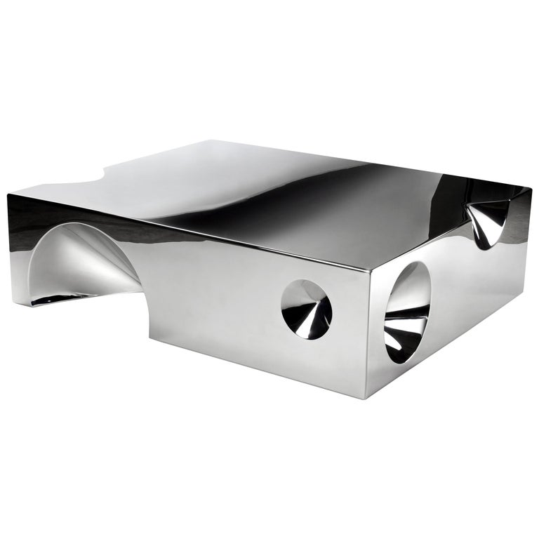 Coffee Table Sculpture Steel Italian Limited Edition Contemporary Design For Sale