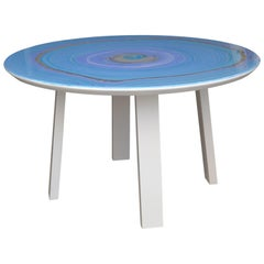 Light blue side table  scagliola art  Top White Lacquered  wood Legs handmade