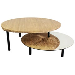Coffee Table Solco in Oak Steel Mirror by Constance Guisset