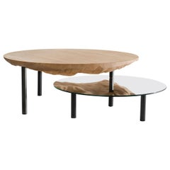 Coffee Table Solco in Pleated Oak Steel Mirror by Constance Guisset