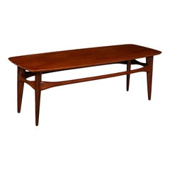 Coffee Table Solid Wood Teak Veneer, Italy, 1960s