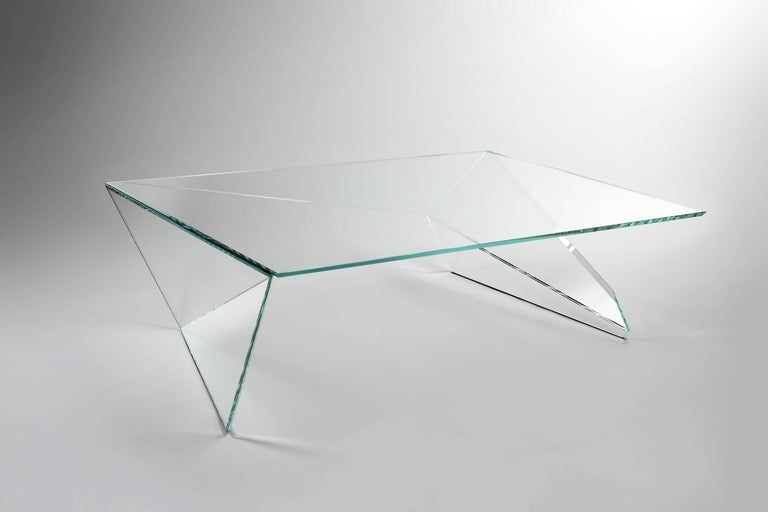 Coffee Table Square Glass Crystal Contemporary Design In New Condition For Sale In Ancona, Marche