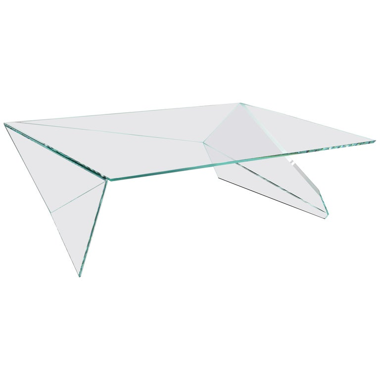 Coffee Table Square Glass Crystal Contemporary Design For Sale