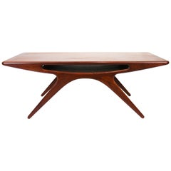 """Coffee Table, """"The smile"""" in Teak Designed by Johannes Andersen, 1960s"""