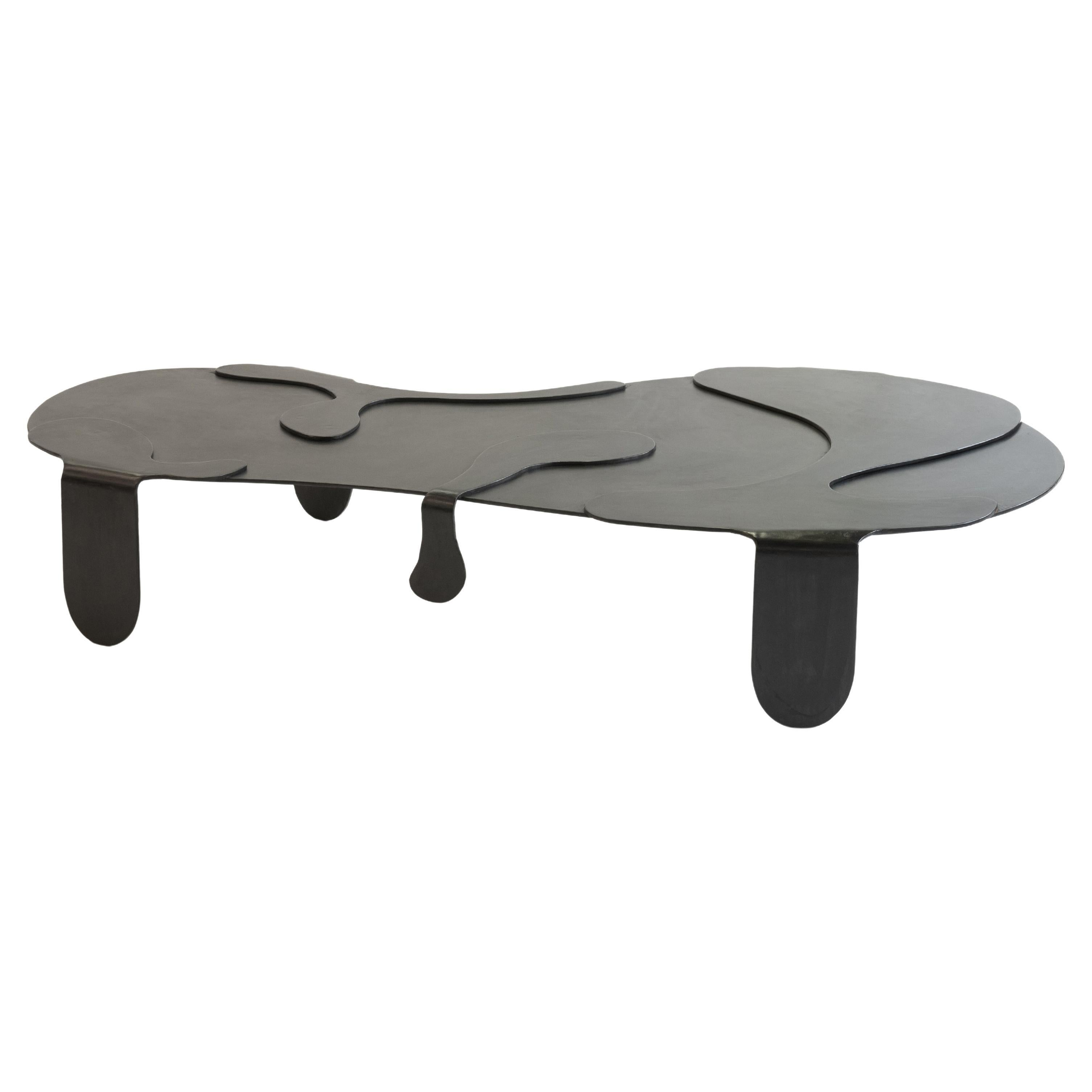 Coffee Table Unique Organic Black Modern/Contemporary Waxed Steel