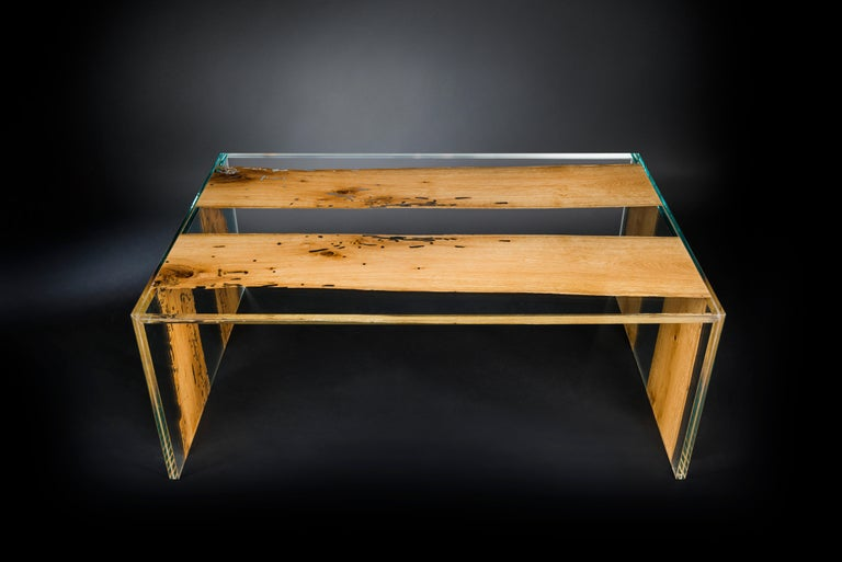 Modern Coffee Table Venezia, in Glass and Venetian Briccola, Italy For Sale