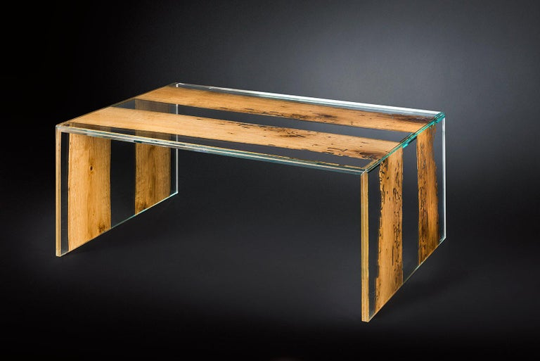 Hand-Crafted Coffee Table Venezia, in Glass and Venetian Briccola, Italy For Sale