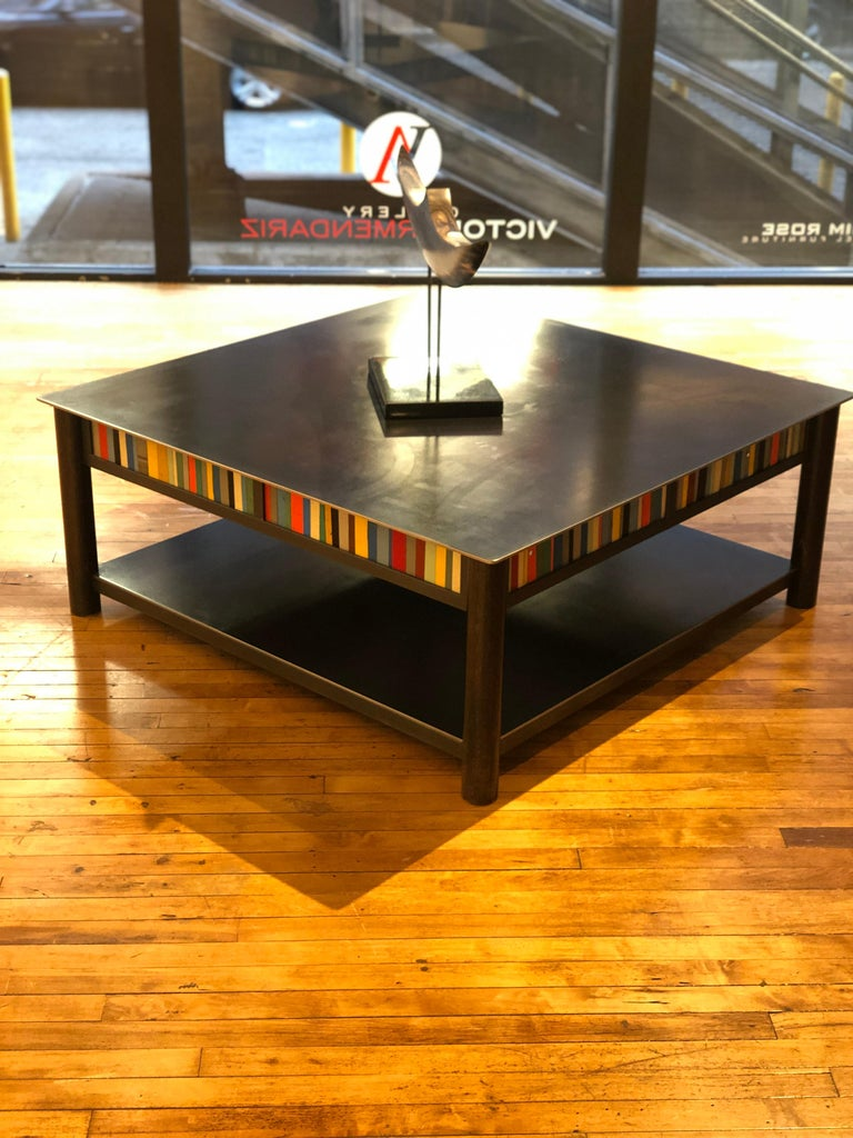 Welded Jim Rose Steel Furniture - Square Coffee Table with Shelf and Multi-Color Panels For Sale