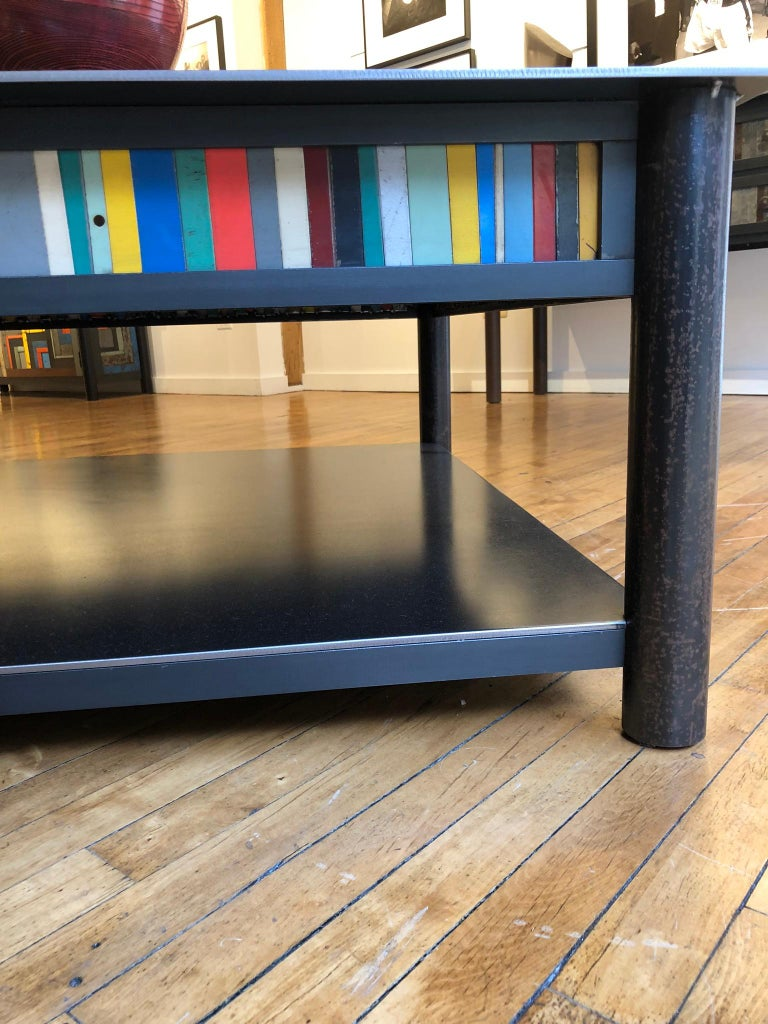 Jim Rose Steel Furniture - Square Coffee Table with Shelf and Multi-Color Panels For Sale 3