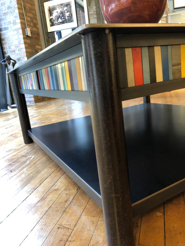 Jim Rose Steel Furniture - Square Coffee Table with Shelf and Multi-Color Panels For Sale 2