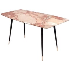 Coffee Table with a Rectangular Breccia Pernice Marble Top, Italy 1950s