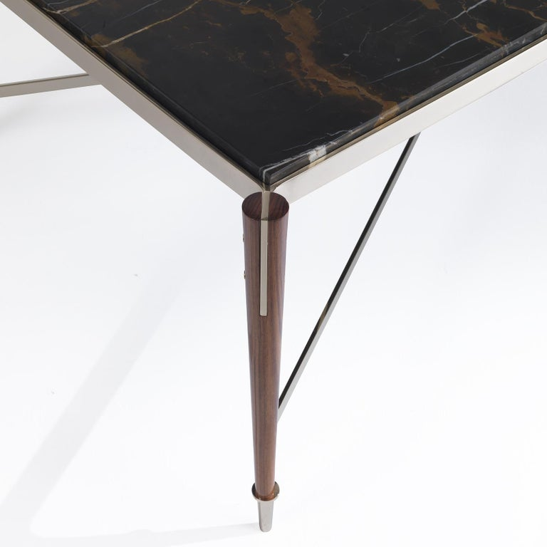 Modern Coffee Table with Black and Gold Marble For Sale