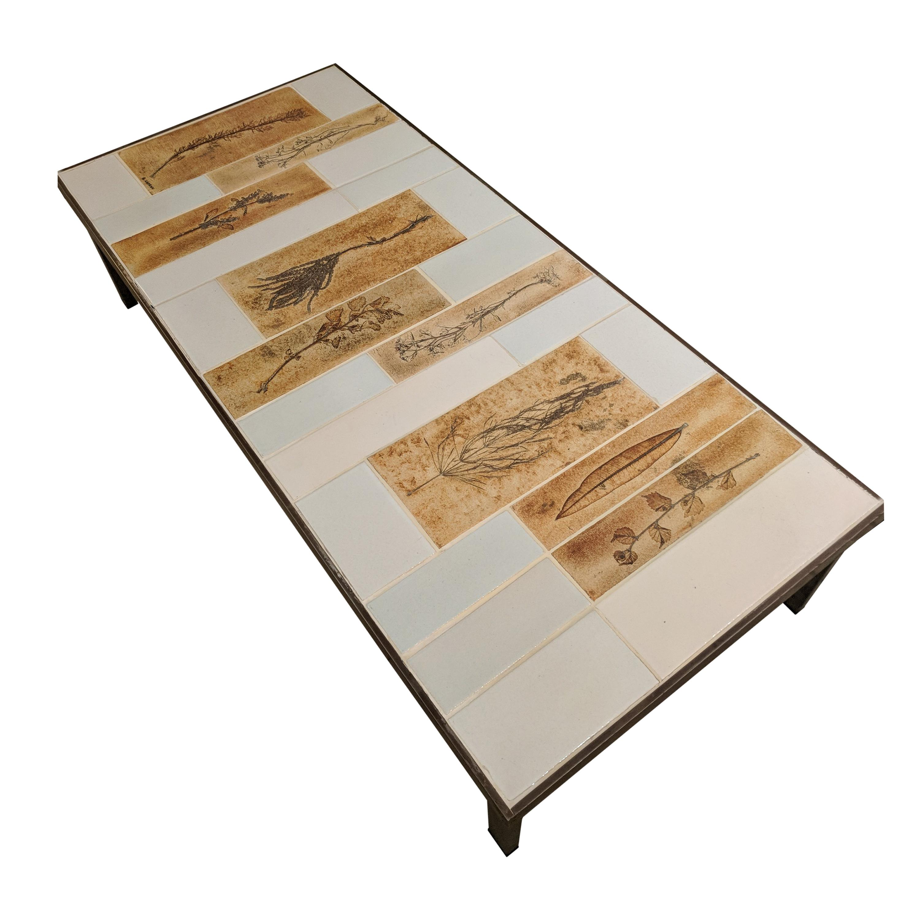 """Coffee Table with Ceramic """"Garrigue"""" Tiles by Roger Capron"""