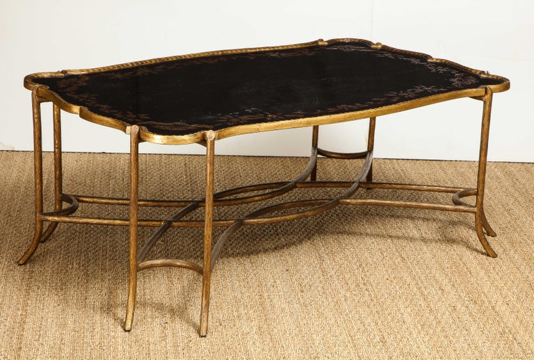 20th Century Coffee Table with Chinoiserie Top For Sale