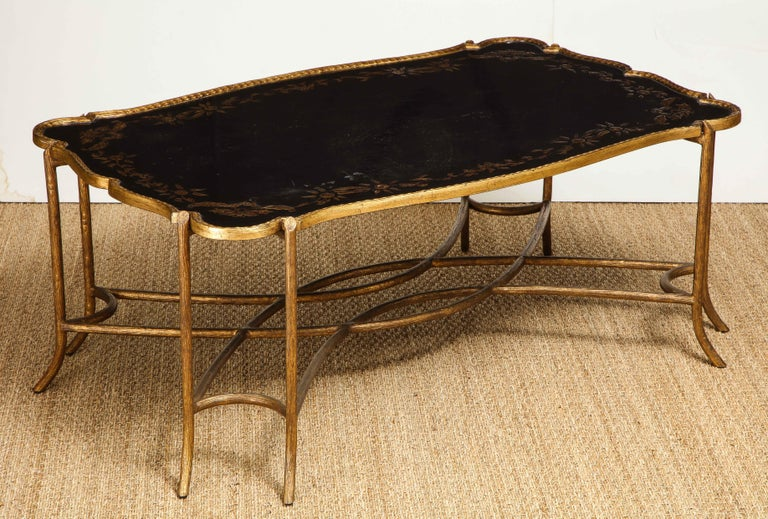 Metal Coffee Table with Chinoiserie Top For Sale