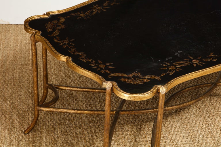 Coffee Table with Chinoiserie Top For Sale 1