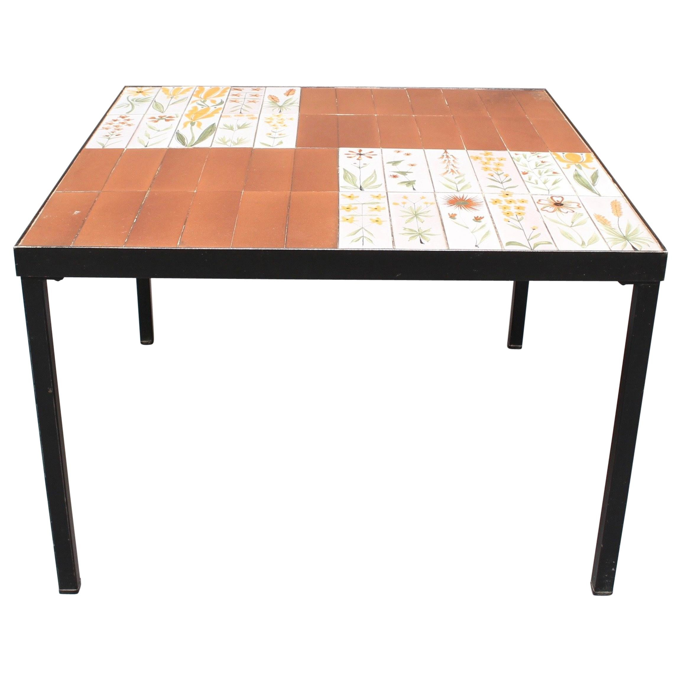 Coffee Table with Decorative Ceramic Tiles by Roger Capron, circa 1970s