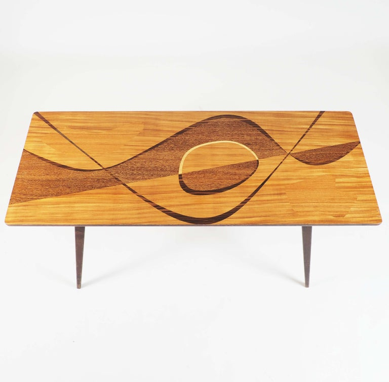 Inlay Coffee Table with Inlaid Wood from Sweden, 1950s For Sale