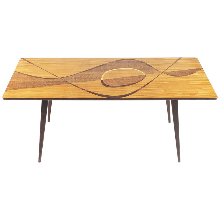 Coffee Table with Inlaid Wood from Sweden, 1950s For Sale
