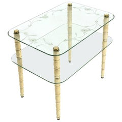 Coffee Table with Legs in White Lacquered Wood and Glass Tops, 1930s