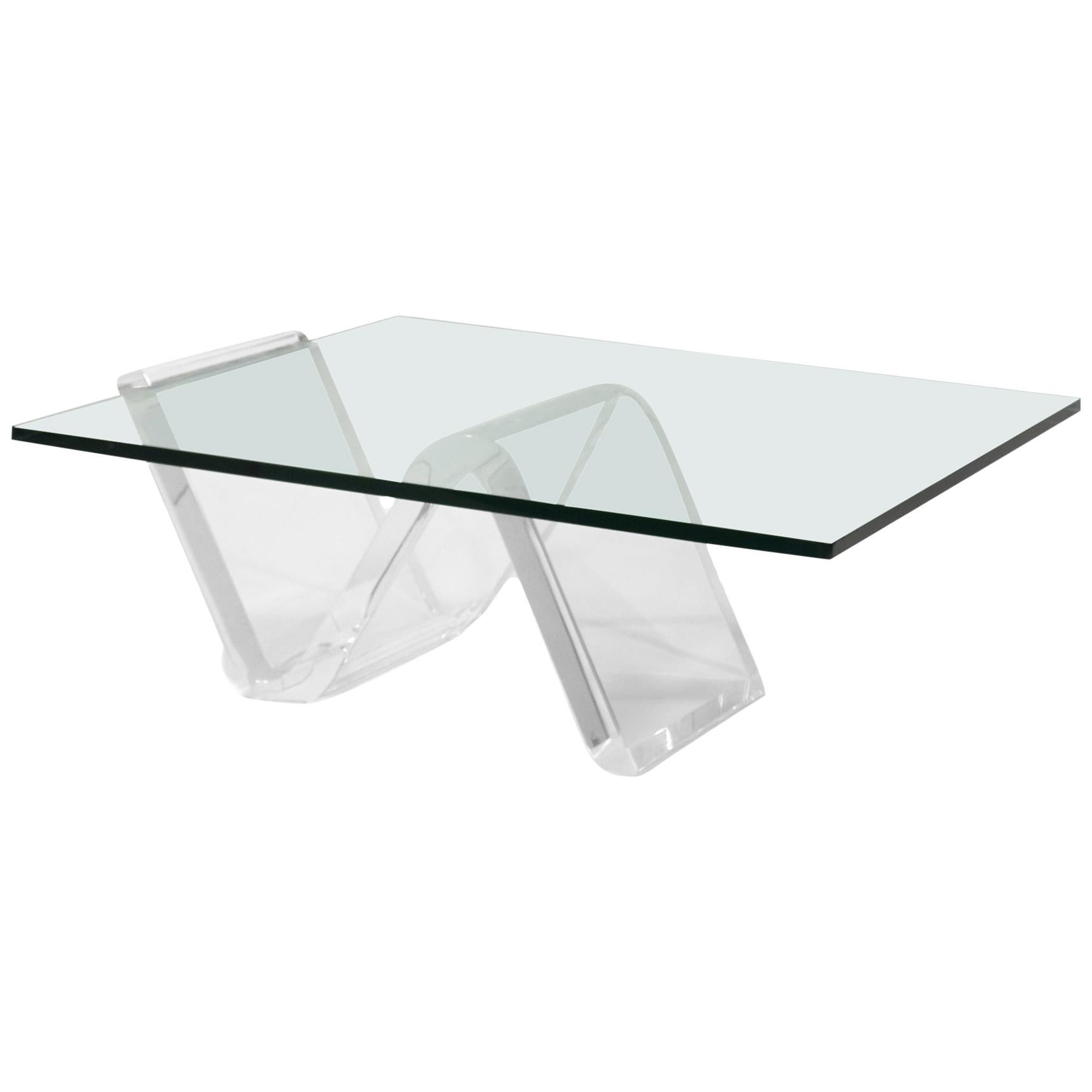 "Coffee Table with Lucite ""Zig-Zag"" Base"