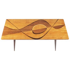 Coffee Table with Rare Inlaid Wood from Sweden, 1950s