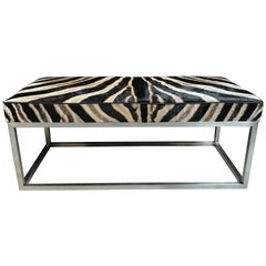 Coffee Table with Real Zebra Skin