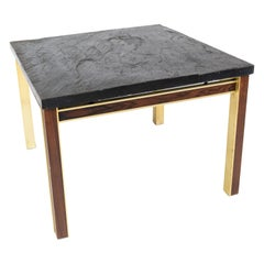 Coffee Table with Slate Plate, Frame of Gilded Metal and Rosewood by Bendixen