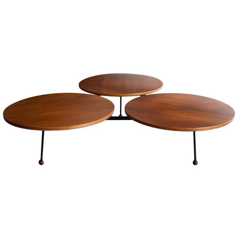 Coffee Table with Three Circular Tops Designed by Greta Magnusson Grossman