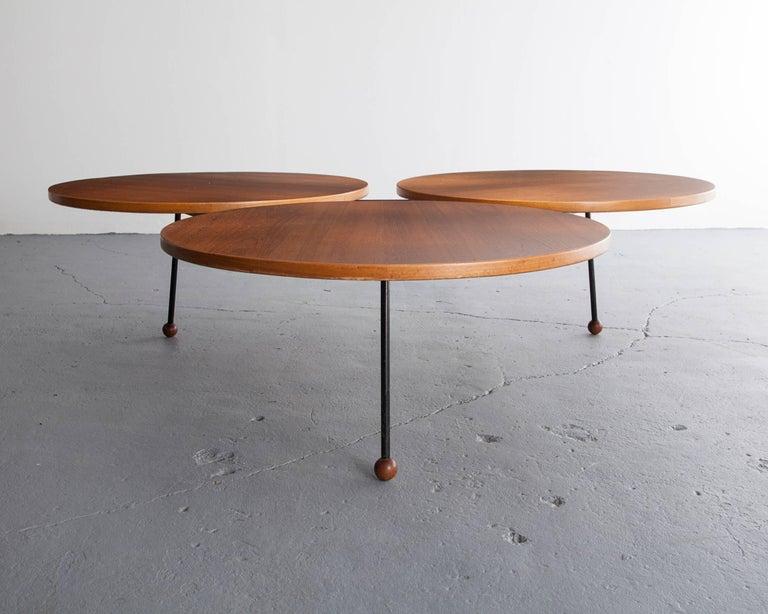 Coffee Table with Three Circular Tops in Teak on an Iron ...