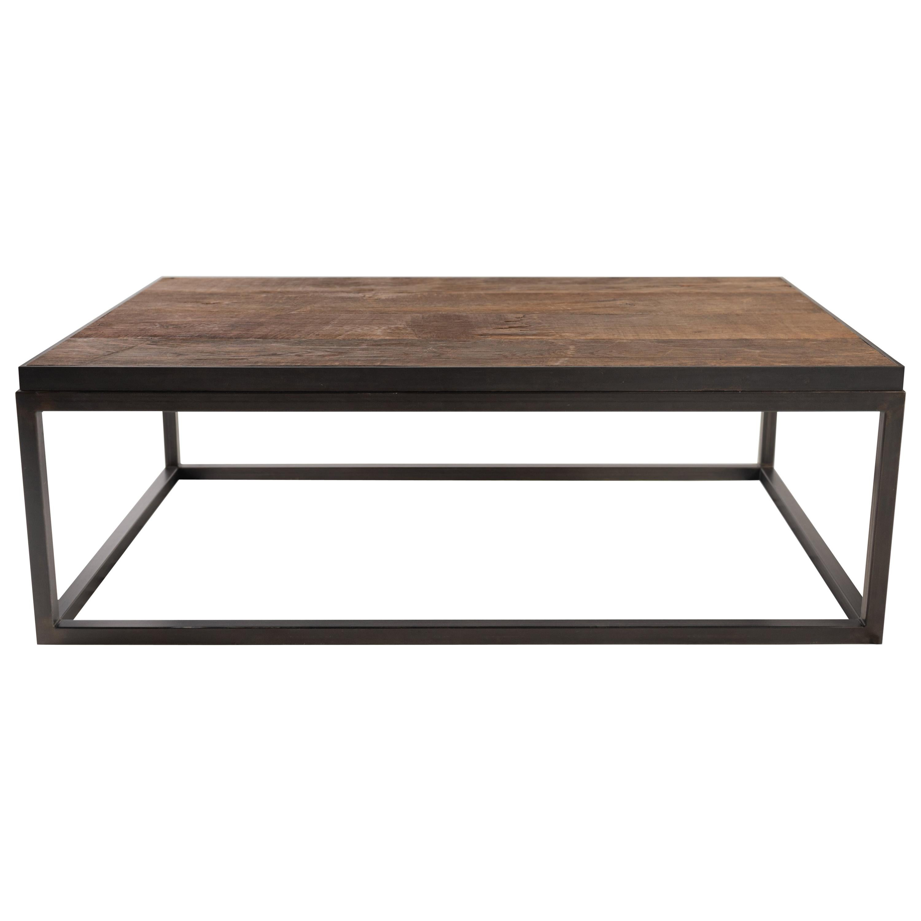 Coffee Table with Top Crafted from Reclaimed Oak & Ebony Patina Steel Base