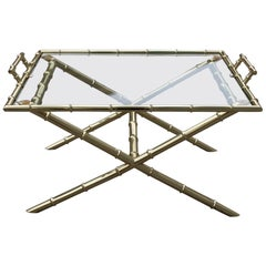 Coffee Table with Tray in Bamboo Cane Gilded Brass Design, 1970, Maison Jansen
