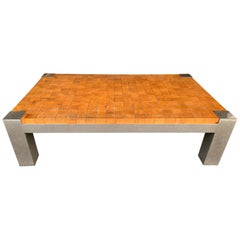 Coffee Table Wood Cube and Metal, France, 1970s