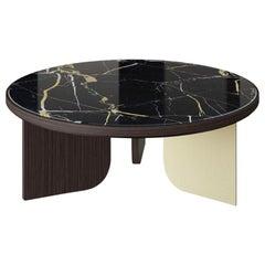 Coffee Table Wood & Steel Distressed Paint Finish Legs Top Vetrite or Ebony