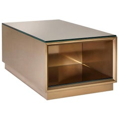 Coffee Table Wooden Structure Liquid Metal or Wooden Veneer Top Mirror