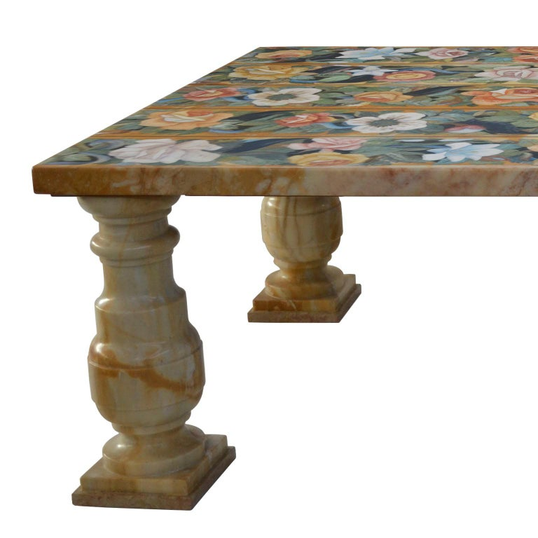 Arts and Crafts Coffee Table Yellow Siena Marble Scagliola Art Inlay Decoration Four Marble Legs For Sale