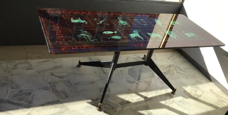 "Coffee Table ""Zodiac"" Iron Glass, 1950, Italy For Sale 4"