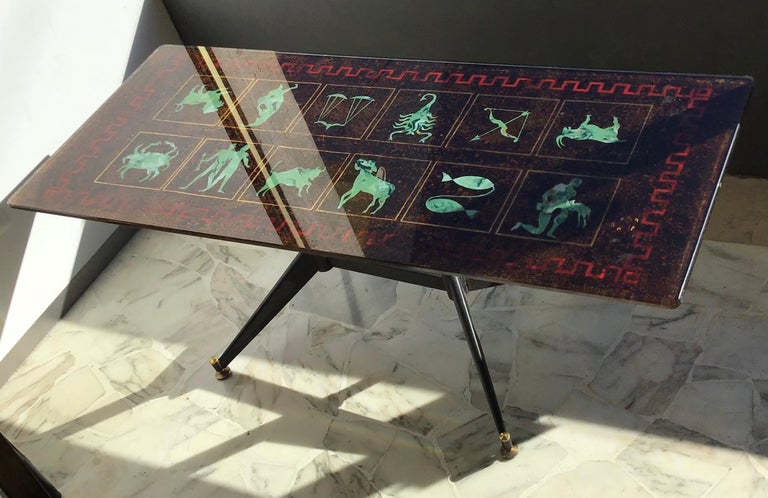 "Coffee Table ""Zodiac"" Iron Glass, 1950, Italy For Sale 6"