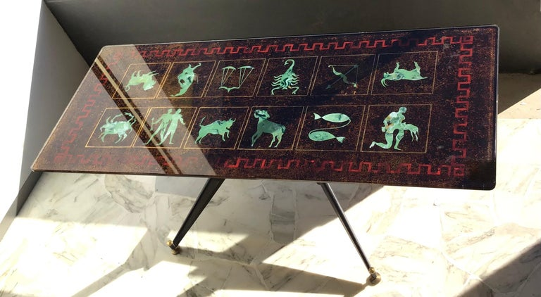 "Italian Coffee Table ""Zodiac"" Iron Glass, 1950, Italy For Sale"