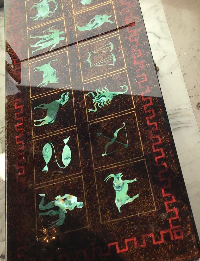 "Coffee Table ""Zodiac"" Iron Glass, 1950, Italy In Excellent Condition For Sale In Milano, IT"