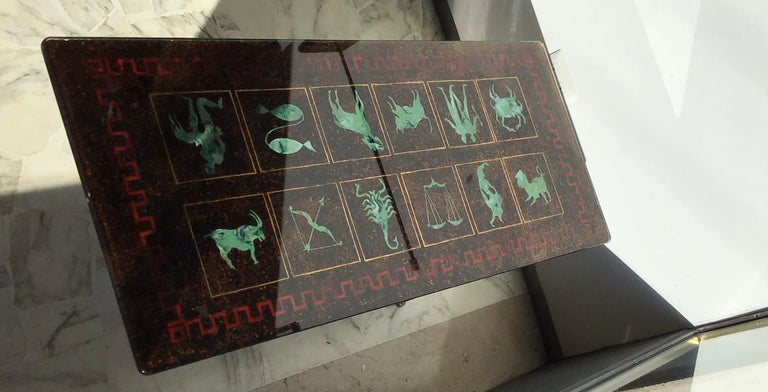 "Mid-20th Century Coffee Table ""Zodiac"" Iron Glass, 1950, Italy For Sale"