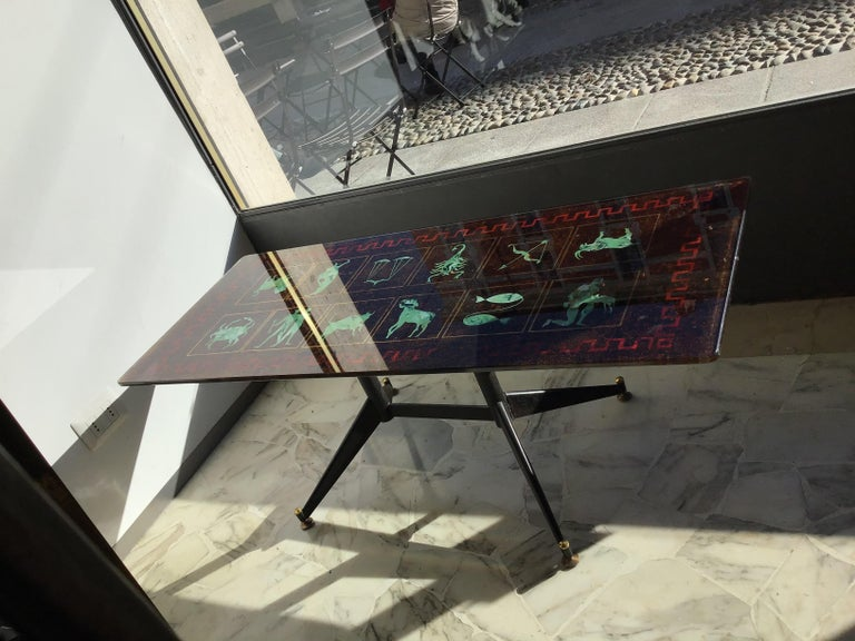 "Coffee Table ""Zodiac"" Iron Glass, 1950, Italy For Sale 2"