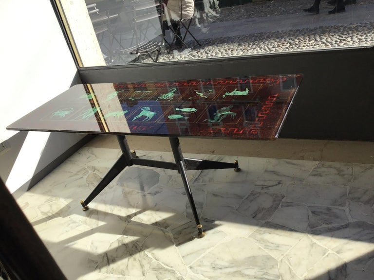 "Coffee Table ""Zodiac"" Iron Glass, 1950, Italy For Sale 3"