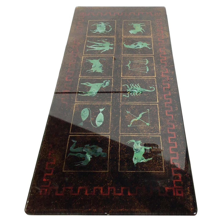 "Coffee Table ""Zodiac"" Iron Glass, 1950, Italy For Sale"